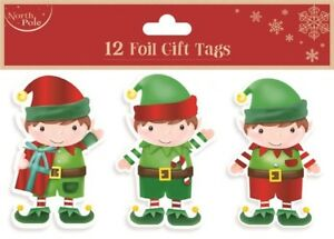 12-FOIL-GIFT-TAGS-CHRISTMAS-ELF-XMAS-GIFT-WRAPPING-PRESENT-VARIOUS-DESIGNS