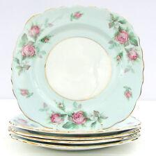 Vintage 1940s Colclough Bone China 6737 Pale Blue Pink Roses Set 5 Tea Plates