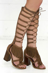 97b37884109 MIA Ricarda Tan Knee High Lace Up Gladiator Sandals Tall Fringe ...