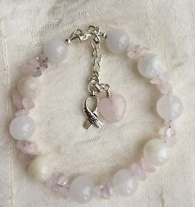 Love Healing Rose Quartz Moonstone Fertility Crystal bracelets with free charms