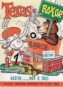 1963 Longhorns v Baylor Bears Program 11/9 Ex/MT Chase Texas Champs Ex 32260