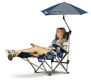 Reclining Camping Chair With Footrest Blue Umbrella Canopy
