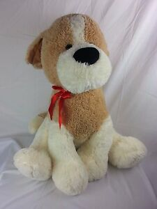 "LARGE 28"" Tan & White Puppy Dog Plush Stuffed Animal Toy"