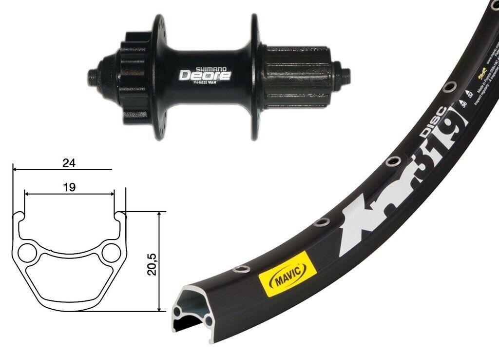 Bike-Parts 27,5″ Ruota Posteriore Posteriore Posteriore Mavic XM 319 Disco + Shimano Deore 6 Fori ( 0f5447