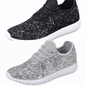 wedding tennis shoes women size 7 sequin silver sparkle glitter sneakers tennis 1194