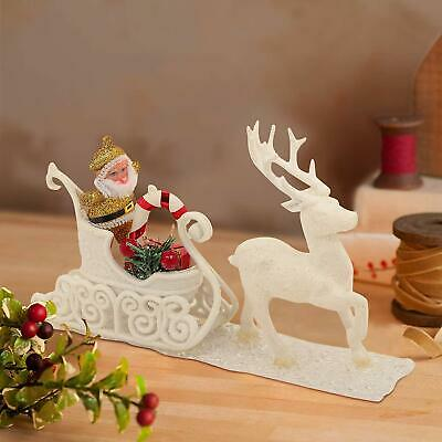 Christmas Decoration Items For Home Office Table Santa Claus Reindeer Cart White Ebay