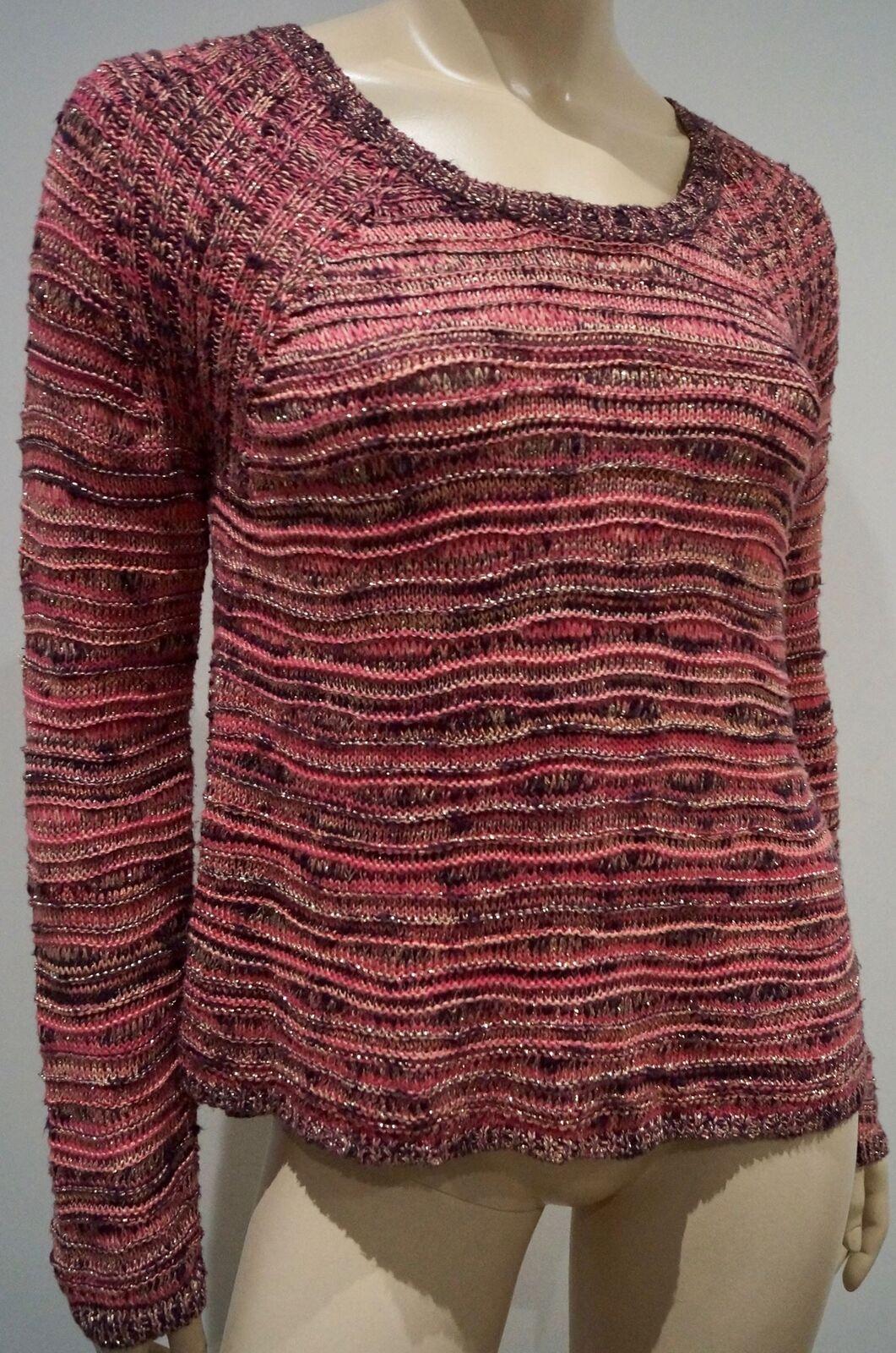 MAJE rosa Marronee oro Metallizzato misto cotone testurizzato Lavorato a Maglia Maglione Pullover Top 1; S