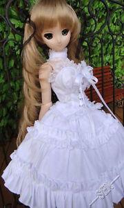 1/3 Bjd Dollfie Rêve Poupée Vêtements Ddl / Ddm Tenue Blanc Color Robe Ensemble