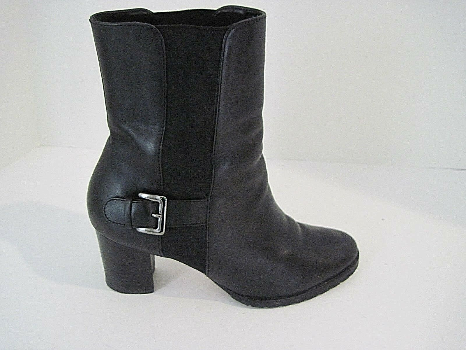 Women's Cole Haan D25456 Boots Black Leather Slip on Mid Calf Buckle Size 6B