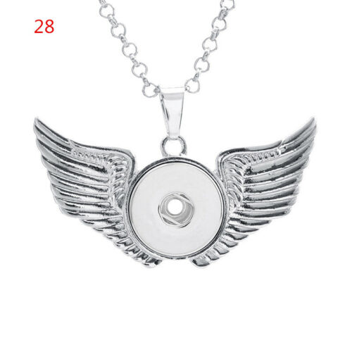 Silver Snap Charm Pendant Necklace Diy Jewelry Fit 18mm Snaps Button With Chain