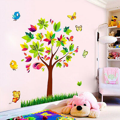 DIY Scroll Tree Birds Vinyl Mural Wall Sticker Decals Girl Kids Home Decor wrb