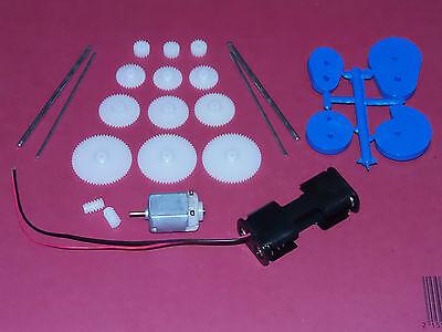 3v 3 volt 13100 Rpm DC Motor kit shafts plastic gears worm cams battery clip