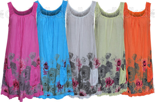 Women's Summer 2019 Beach Floral Cotton Sleeveless Tunic Shift Mini Dress 10 16