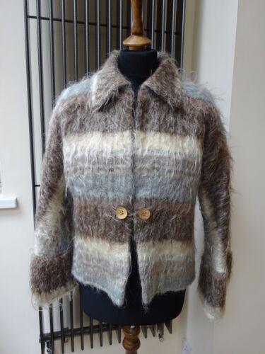 Gris Mohair Laine Écossaise Veste Bleu en Multicolore Vintage Cardigan W4TURwqa