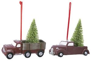 2-Pc Hanging Holiday Classic Pick-Up Truck With Tree Ornament Assorted Set