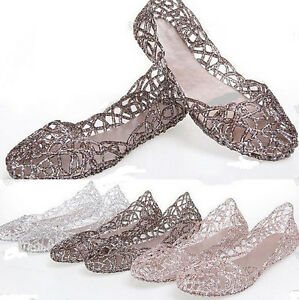 Hot-Sale-Womens-Jelly-Hollow-Sandals-Ventilate-Crystal-Shoes-Flat-Shoes-US-Size