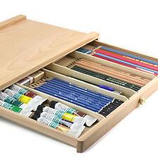 """Medium (15.67 x 9.65 x 0.83)"""" Artist Tabletop Wooden Sketch Paint Box Beech Wood"""