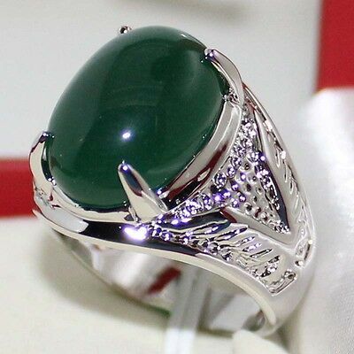 Sz 9-11 Mens Engagement Handmade Stainless Steel 6ct Jade Huge Solitaire Ring