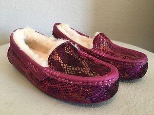 8394b85ad6f Details about UGG Australia ANSLEY EXOTIC VELVET SHEEPSKIN LONELY HEARTS  SLIPPERS Pink US 5