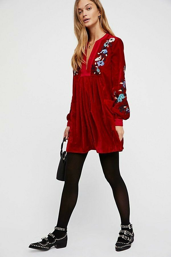 SOLD OUT FREE PEOPLE Mia Embroidered Dress Red MEDIUM ORIG
