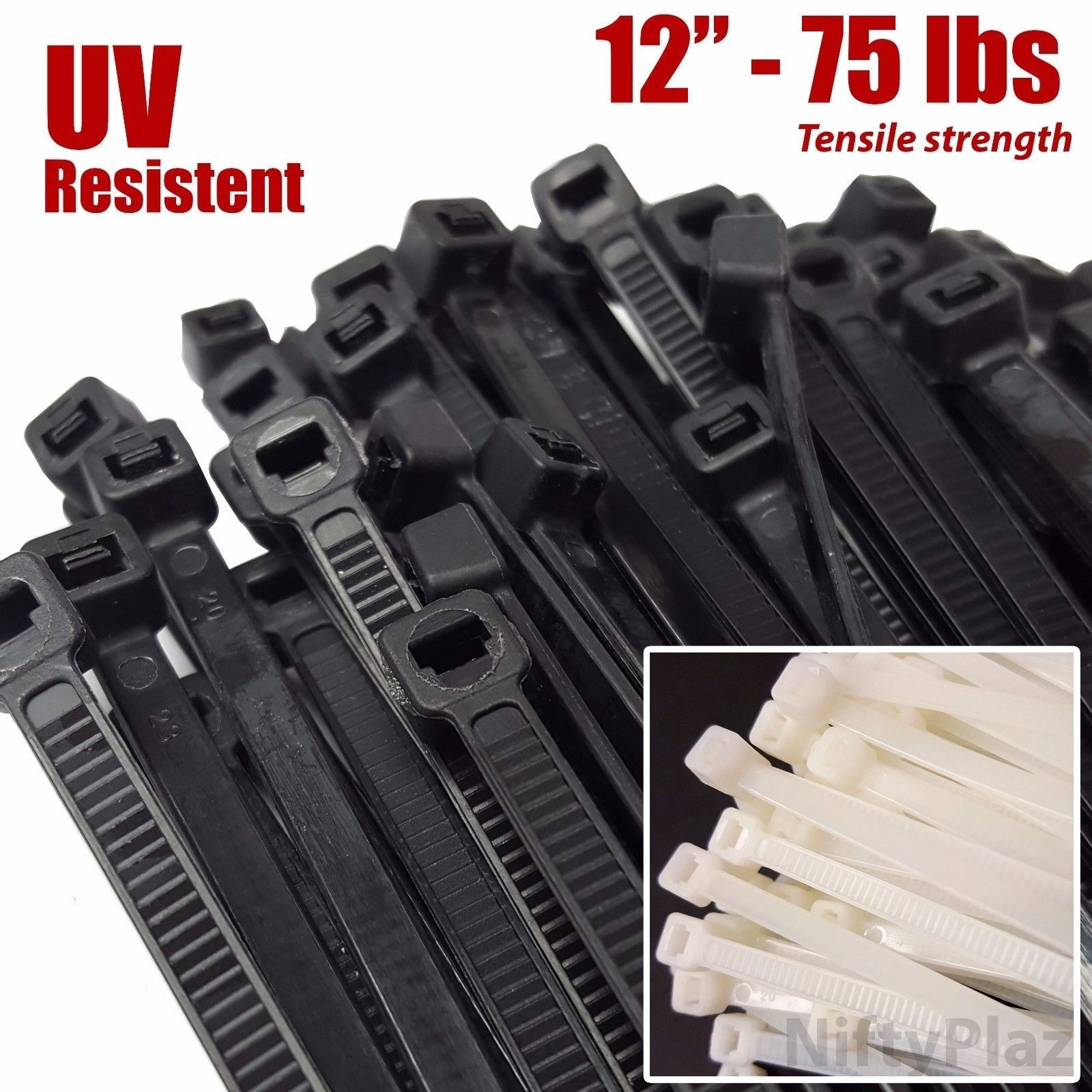 """Ultra Thin Plastic Tie Straps 8/"""" 6/"""" and 4/"""" Cable Zip Ties 75 pieces NEW"""