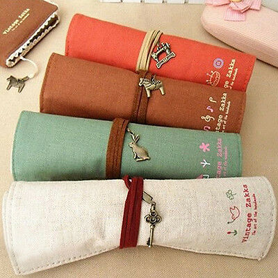 Vogue Canvas Bag Holder Wrap Roll Up Stationery Pen Brushes Makeup Pencil Pouch