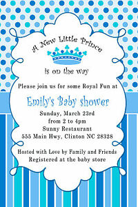 Details About 30 Prince Invitation Baby Boy Shower Invite Card Bue Crown Royal Party A2