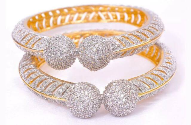 Cubic zircon AD Gold Plated Ethnic Bollywood Indian Bridal Bangles Bracelet SETs