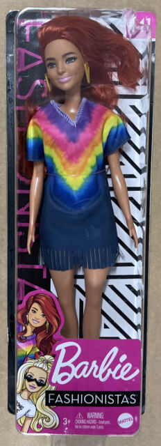 Barbie Fashionistas Doll #141 Long Red Hair & Tie-Dye Fringe Dress New In Box