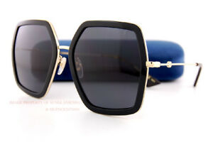 a390cf26481 Brand New GUCCI Sunglasses GG 0106 S 001 Black Gold Grey For Women ...