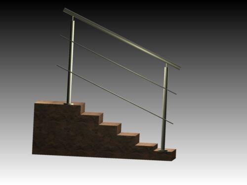 Edelstahl Treppen Geländer Bausatz V2A  Handlauf 1000mm 2 Querstäben