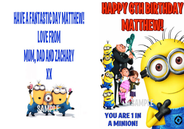 Despicable Me Minion Personalised Birthday Card Any Name And Age