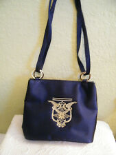 THE ICING..CROSS BODY or SHOULDER  PURSE DEEP BLUE FABRIC LOOK FEEL OF SILK