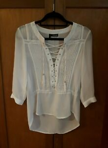 b1c3ef9114 Image is loading The-Kooples-White-Lace-Up-Front-Blouse-Top-