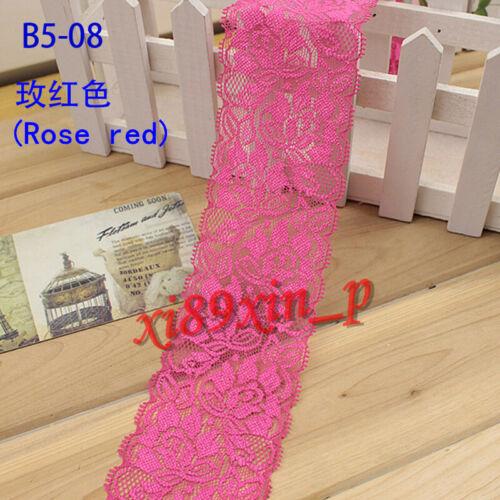 Q104 1 yard Floral Stretch Lace Trim Ribbon Sewing Dress Skirt Decor DIY Crafts