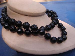 Vintage Mid Century black Art glass /& red black glass jet bead long necklace