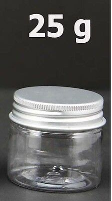 2/6/20 Empty PET Jars Aluminum Lids Clear Silver Plastic Cosmetic 25/30/40/50ml