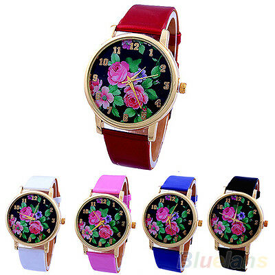 Women Stunning Rose Flower Dial Leather Strap Quartz Analog Charming Wrist Watch