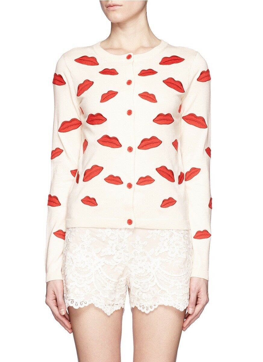 ALICE + OLIVIA IVORY & RED EMBROIDERED  POUTLIP CARDIGAN SWEATER KNIT TOP SIZE S