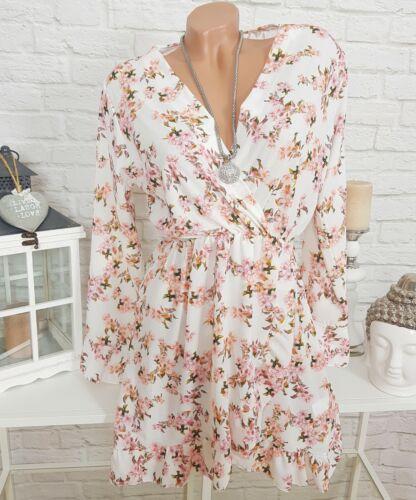 Volant Blumen Kleid Chiffon Minikleid Wickeloptik geblümt Weiß Rosa 36 38 40