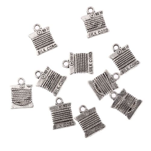 10PCS Tibetan Silver Cotton Reel Bead Charms Pendant Fit Jewelry Making 15*11mm