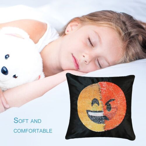 Cute Changing Face Emoji Decorative Pillows Sequin Pillow Smile Face Pillow~LY