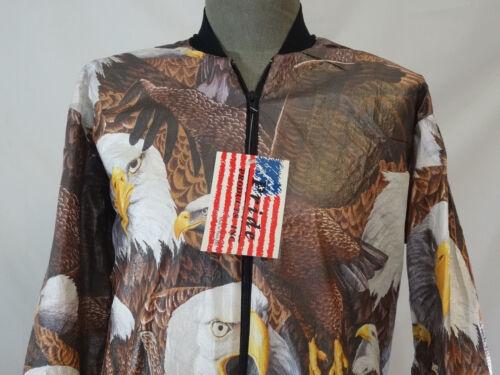 PRIDE American Eagle Bird Tyvek Animal Print Sz M L XL XXL Jacket Windbreaker