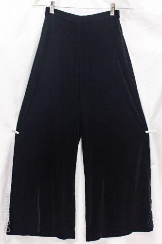 St. John Evening Black Velvet Wide Leg Side Zip Pa