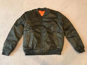 ddecf6f1235 New Men s Sam s Solid Army Green Nylon Bomber Flight Zip Jacket ALL ...