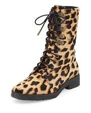 Diane Von Furstenberg Womens Ace Leopard Print Calf Hair Combat Boots 6.5 New