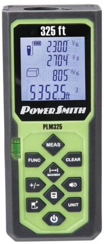 SAE//Metric PowerSmith 325ft Laser Measure Tool Weather-Proof Calculate Area//Vol