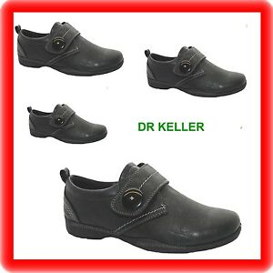 ladies black dr keller touch fasten comfort low wedge casual NURSE  shoes size 4