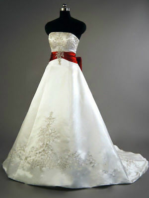New White/Red Wedding Dress Bridal Gown Plus Size Satin ...