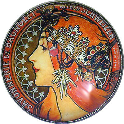 Art Nouveau Woman Button Crystal Dome LgSz M26  FREE US SHIPPING